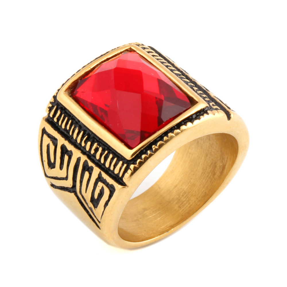 Zhongzhe Jewelry Stainless Steel Punk Gold Ruby Mens Vintage Gemstone Ring