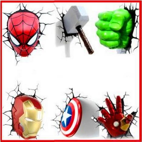 bande dessin e the avengers captain america thor spiderman hulk iron man 3d lampe night lights. Black Bedroom Furniture Sets. Home Design Ideas