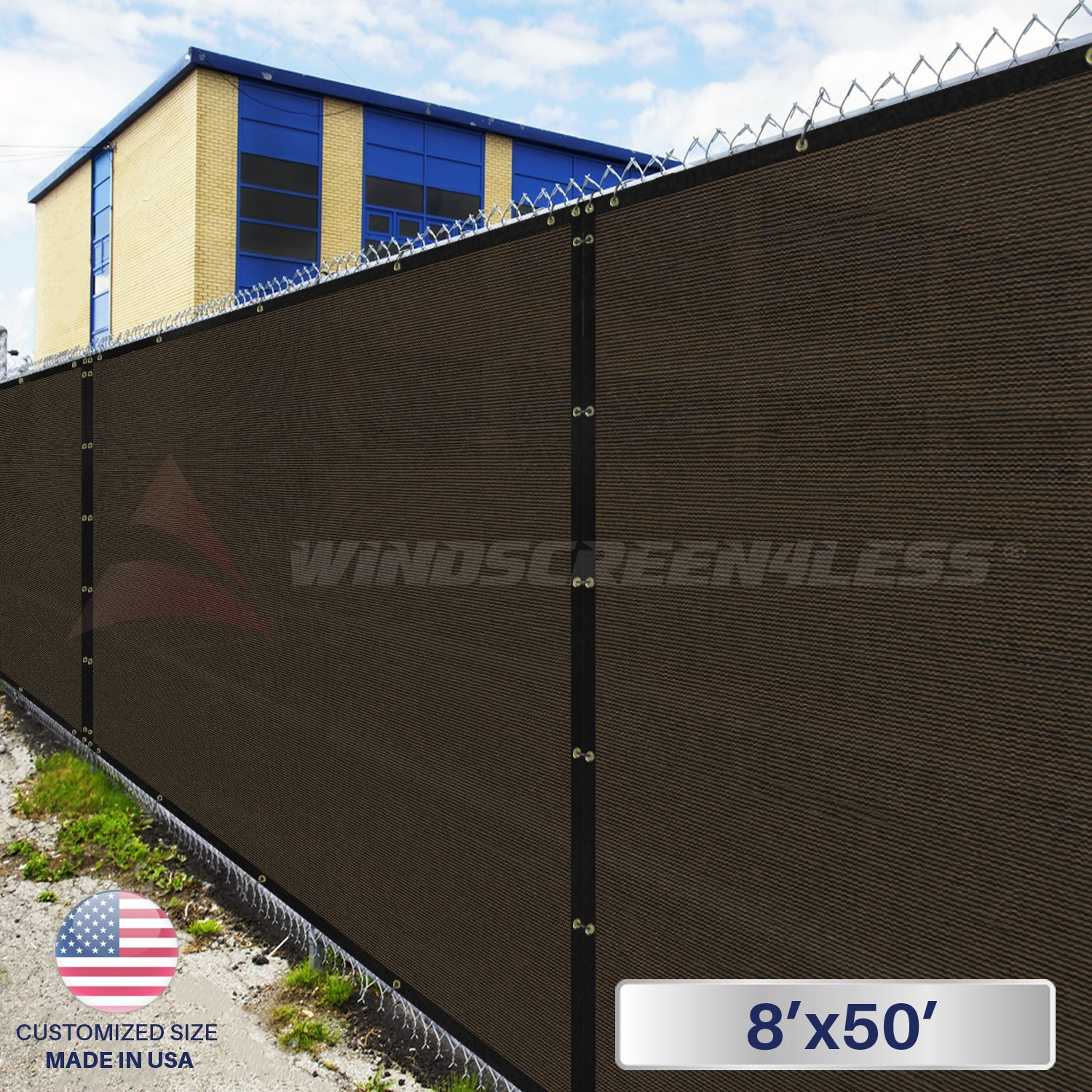 e4944a81afd3 Windscreen4less Heavy Duty Privacy Screen Fence in Color Brown with Black  Strips 8' x 50
