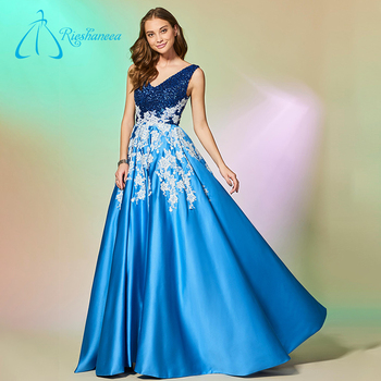 Lace Appliques Sequined Simple Beautiful Blue Prom Dresses - Buy ...