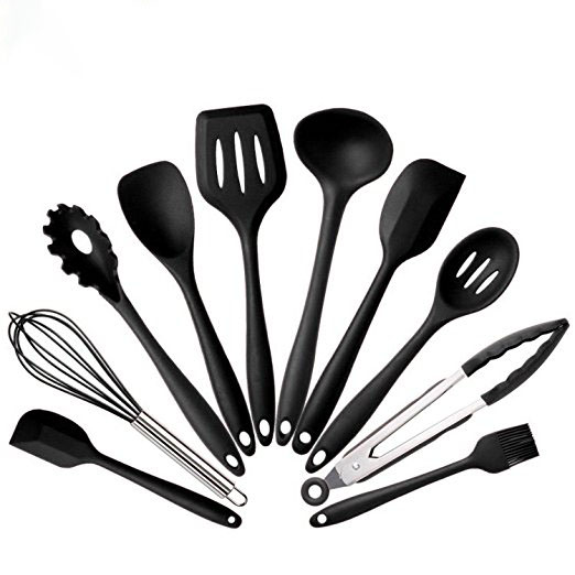 10 pcs Food grade silicone black cooking utensils kitchenware set