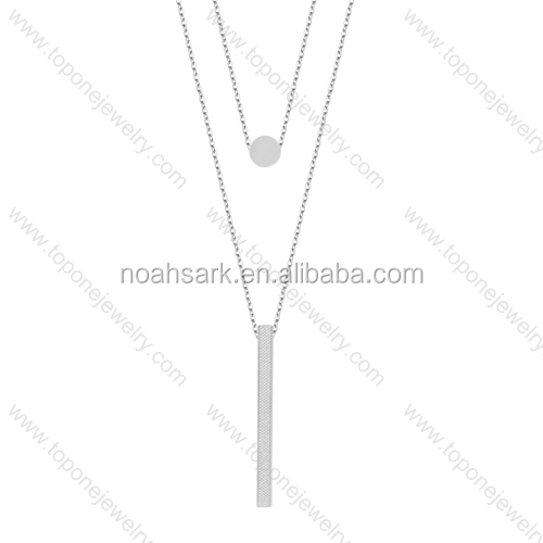 fashion trends stainless steel long thin double chain layered necklace