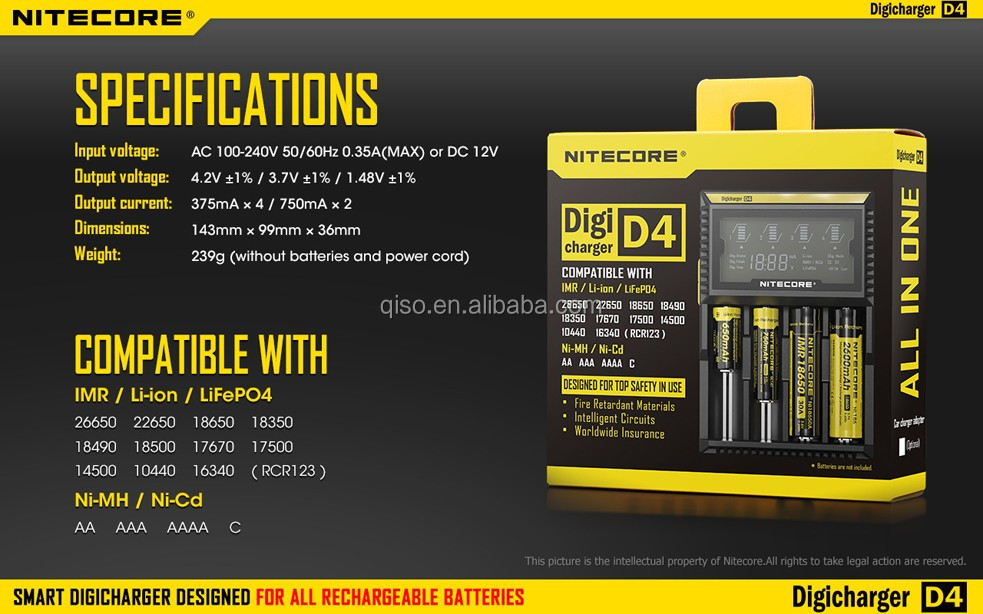 Wholsale nitecore d2/d4 12v smart mini max smart power battery charger for lithium ion cell