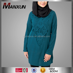 2017 Plain muslim tops islamic women cloting arabic casual wear