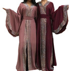 Red Diamonds Muslim Abaya Kimono Arabe Kaftan Dubai Hijab Dress Turkey Caftan Islamic Clothing Abayas For Women Ramadan Robe