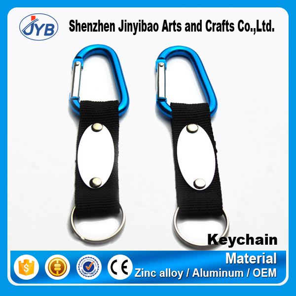 keychain type aluminum material custom cheap carabiner tape hook key holder