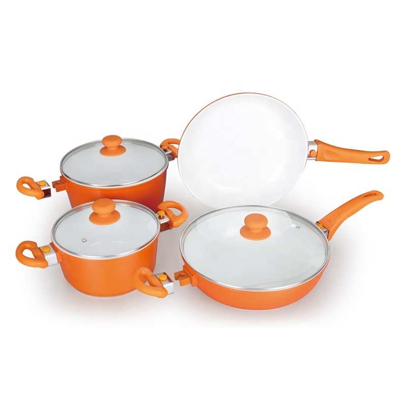 7 pieces sauce pots and saute pan and fry pan ceramic cookware sets for detachable handles series