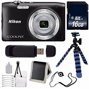 Nikon COOLPIX S2900 Digital Camera (Black) International Model No Warranty + 16GB SDHC Class 10 Memory Card + 12-Inch Flexible Tripod with Gripping Rubber Legs + SD Card USB Reader + Memory Card Wallet + Lens Cap Keeper + Deluxe Starter Kit 6AVE Bundle