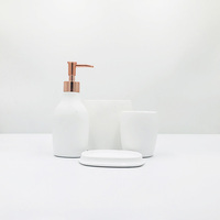 Home White Ceramic Natural Marble Bathroom Accessories Set for Home Bath Decor