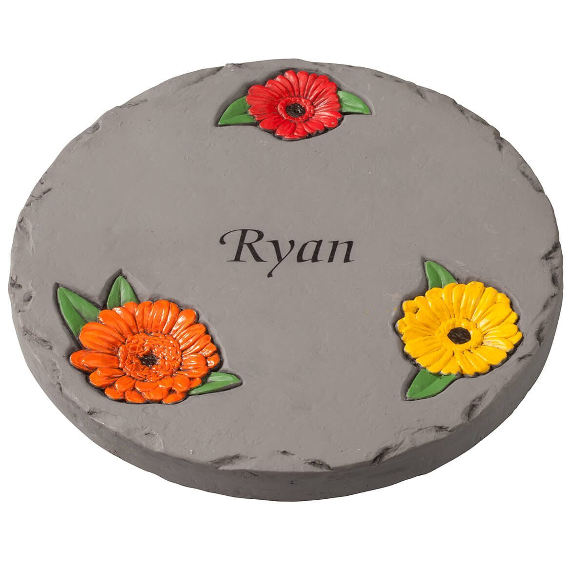 "Fox Valley Traders Personalized 7"" Daisy Garden Stepping Stone – Decorative, Colorful, Durable, Stepping Stone Ideal for Yard, Walkway or Garden – Weather-Resistant Cement"