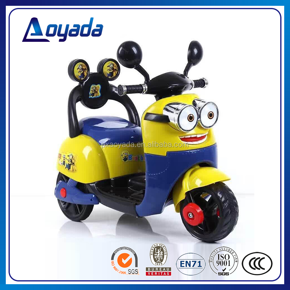 The coolest minion electric kids motorcycle / children's favourite minion motor bike with battery power