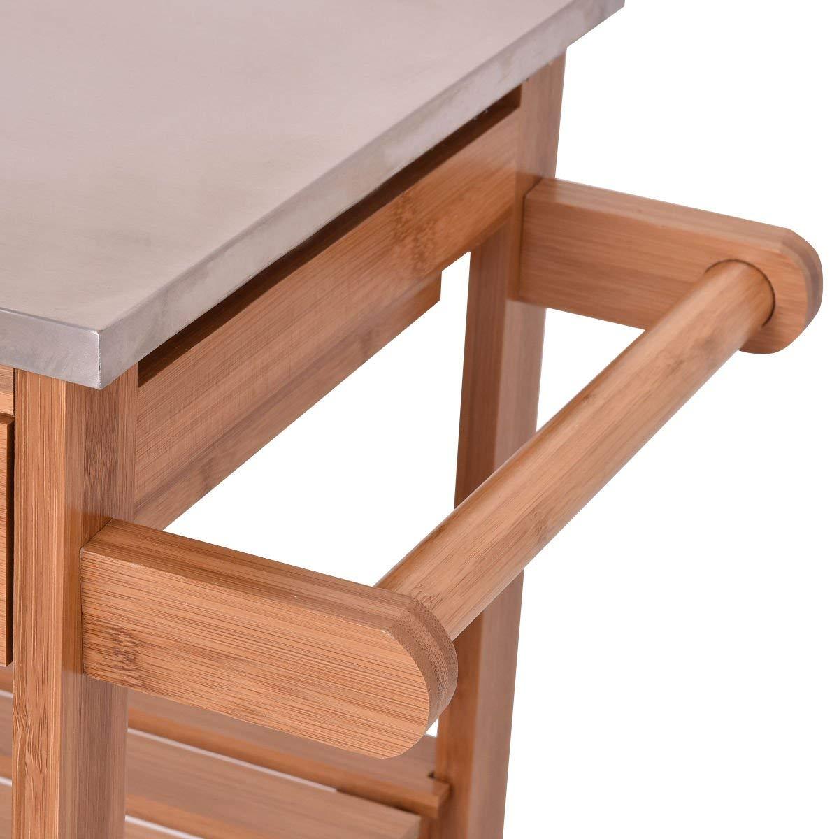 Bamboo portable Rolling Kitchen Island Trolley Cart Storage Shelf Drawers Basket Dining cart 3