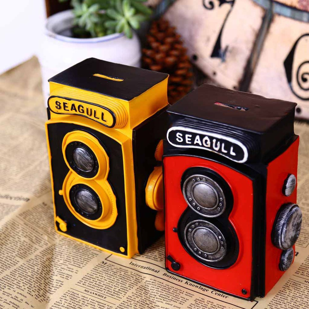 grocery retro resin ornaments, retro lomo camera piggy bank