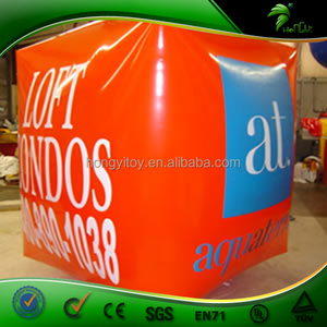 Custom Water Park Equipment Inflatable Float Life Buoy, Cube Shape Inflatable Marker Buoy For Swiming