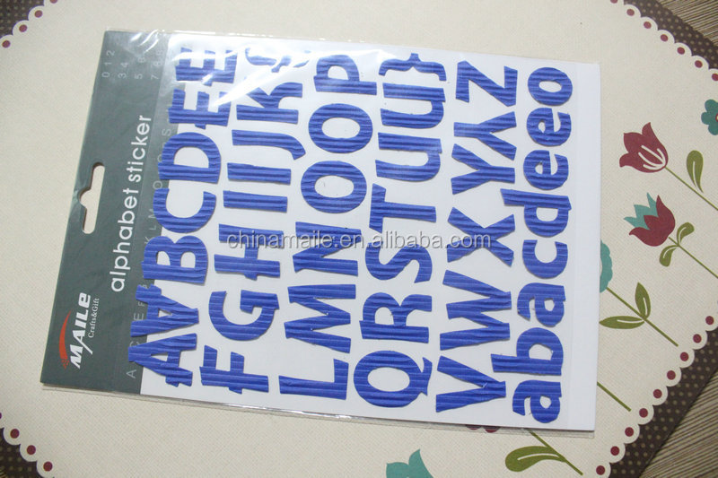 Wholesale adhesive vinyl alphabet stickers plastic alphabet letter stickers