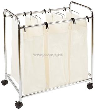 3 Bag Laundry Sorter Compartments Hamper