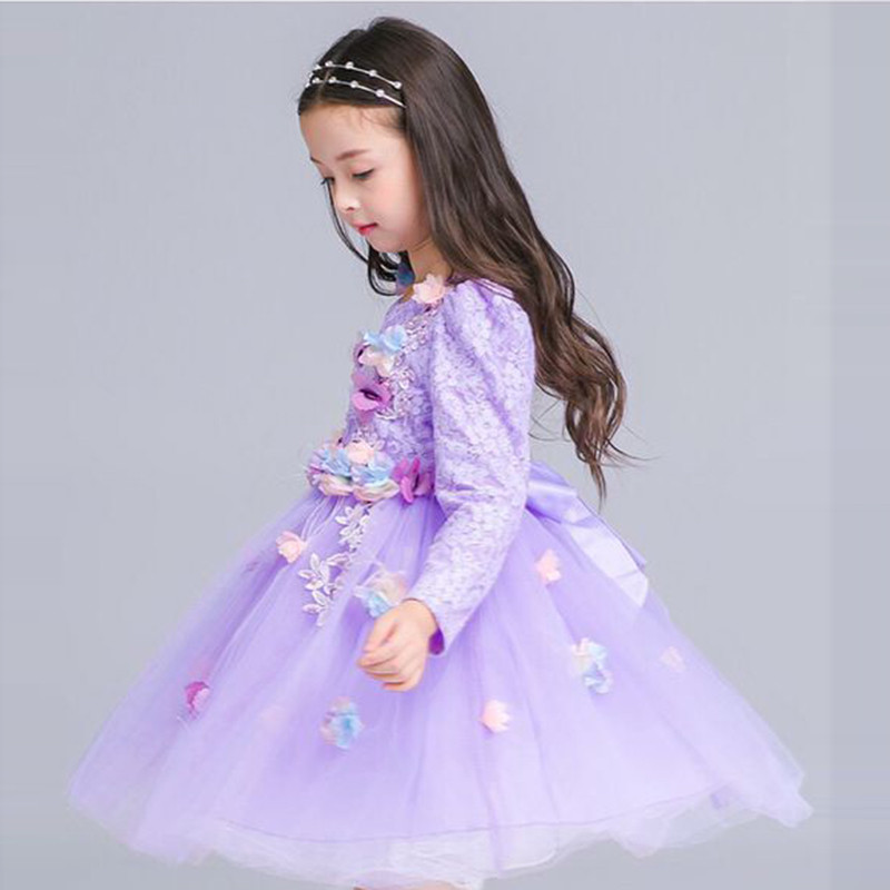 Lavender Lace Party Gowns New Year Kids Clothes Full Sleeve Birthday ...
