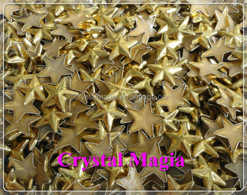 gold star shape hot fix metal studs for clothing