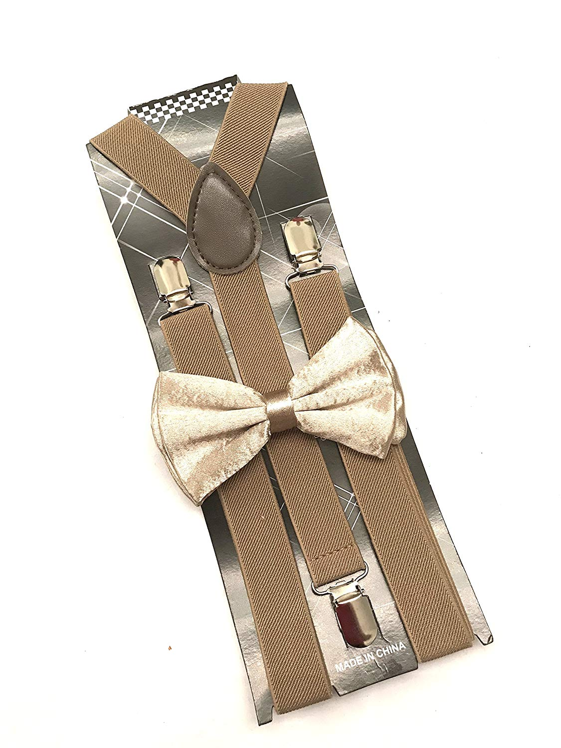 Awesome Light Brown Wedding Accessories Adjustable Bow Tie & Suspenders