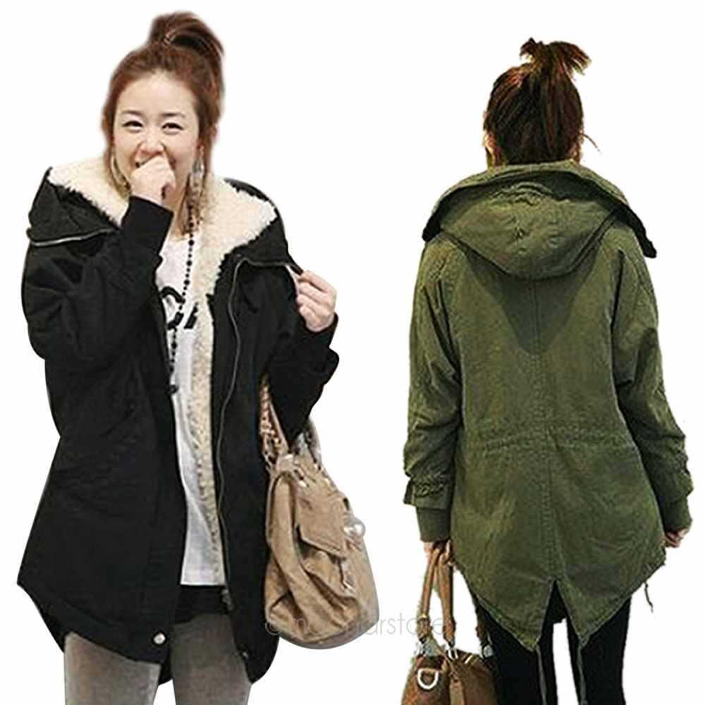 Womens long coat with hood