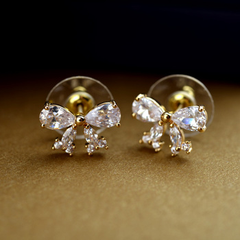 Top Hot Manmade Diamond Bow Earring Jewelry Dainty Korean Bowknot Fake Cz Stud