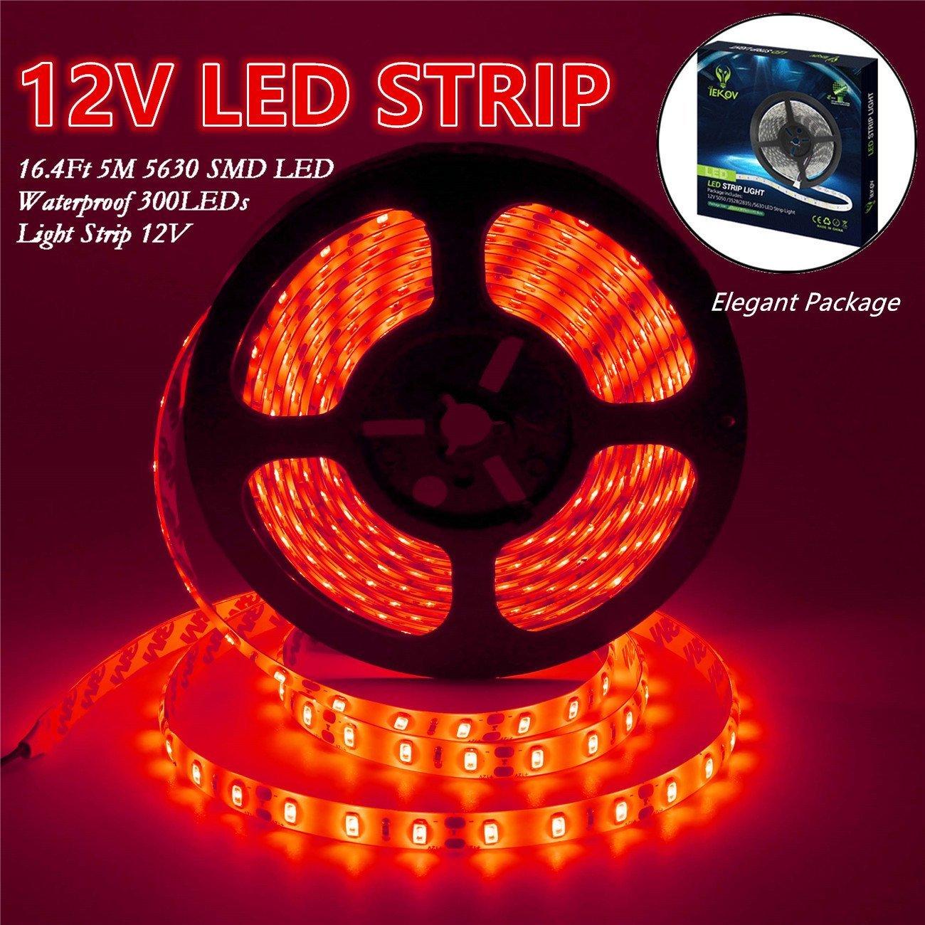 IEKOV Led Strip Lights, trade; 5630 SMD 300LEDs Waterproof Flexible Xmas Decorative Lighting Strips, LED Tape, 5M 16.4Ft DC12V (Red)