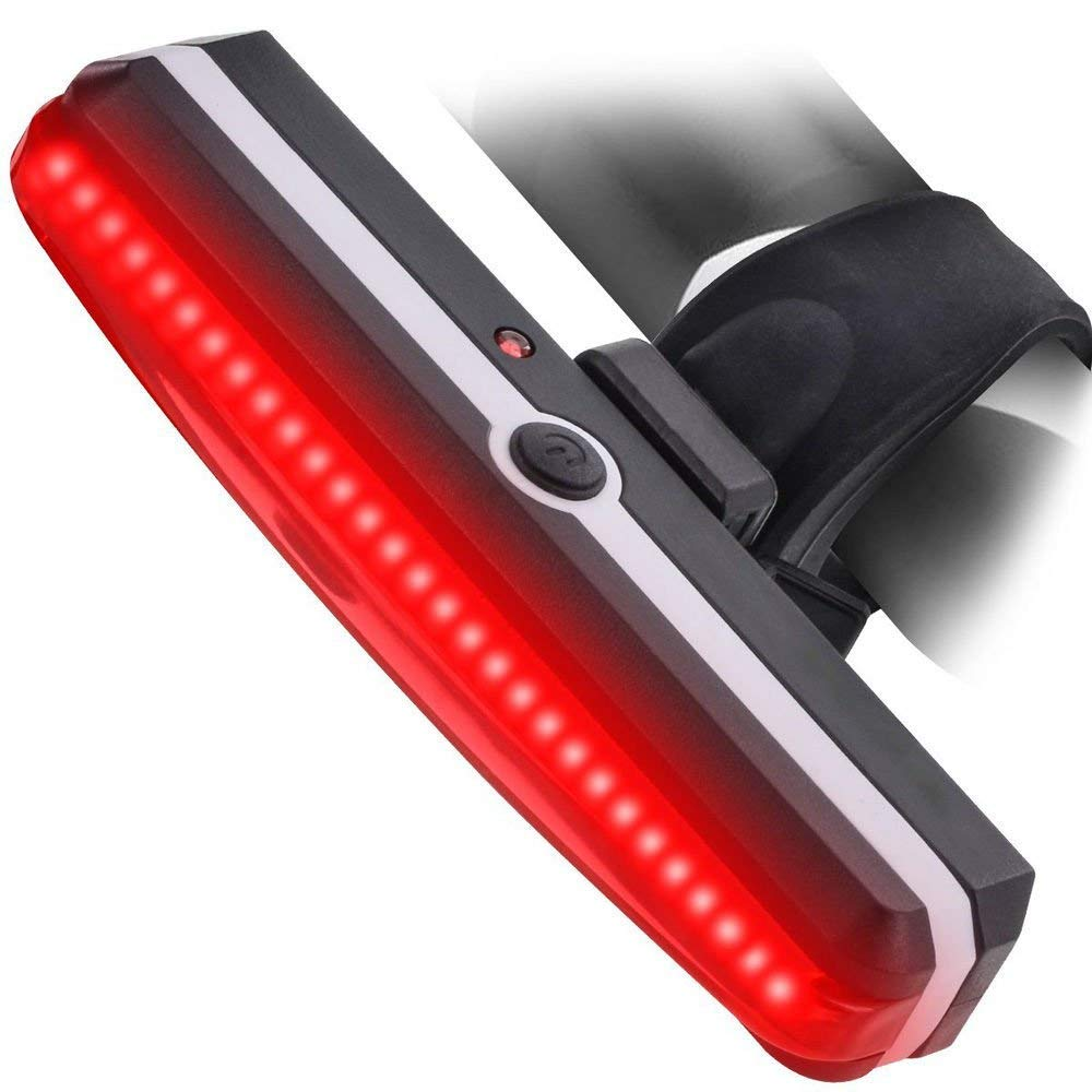 HMhome LED Bicycle Bike Cycling Front Rear Tail Light Ultra Bright USB Rechargeable 6 Modes Red Safety Flashlight USA