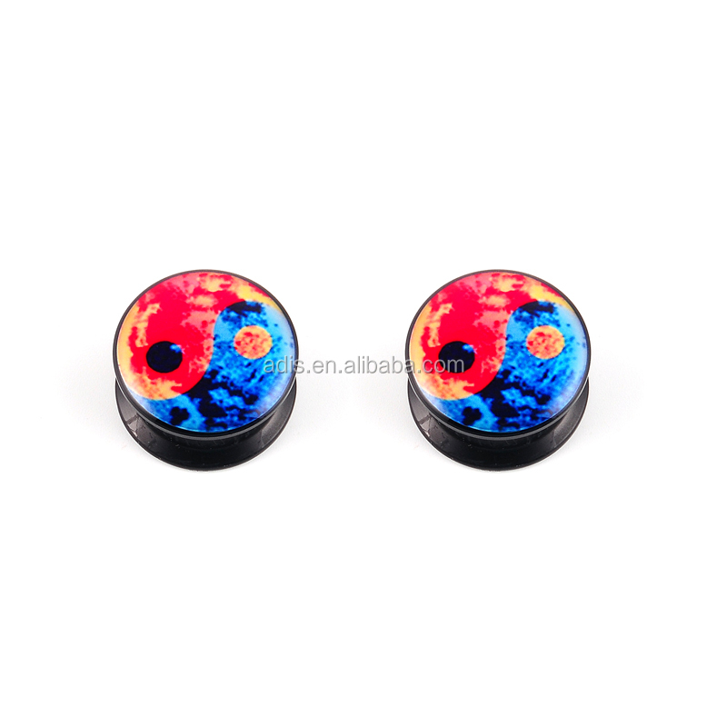 Logotipo YingYang acrílico Duplo Flared Ear Plug Body piercing Jóias
