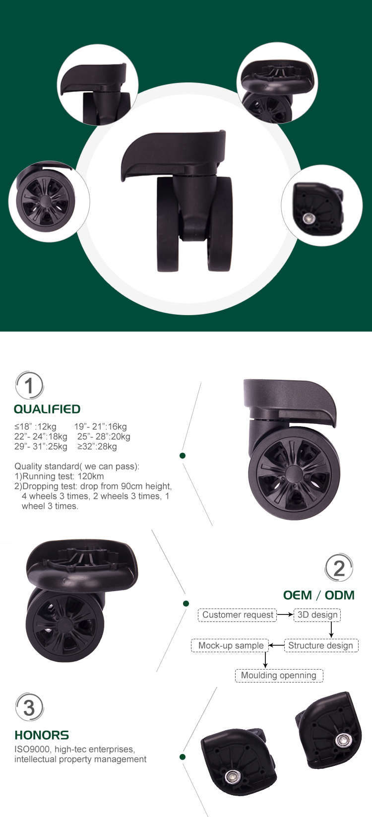 Process of manufacturing luggage wheels
