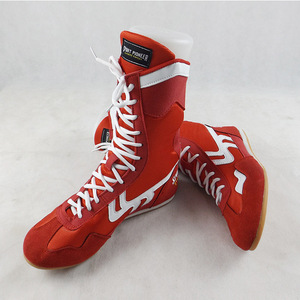 Men High Top Muay Thai MMA Boxing shoes Wrestling Shoes Lace-up Faux Cow Leather boxer boots Gym Training Gear Sneakers Red