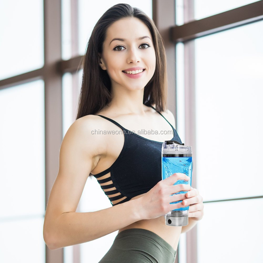 600ml silver Electric Detachable Tornado Smart Mixer Cup Protein Shaker Water <strong>Bottle</strong>