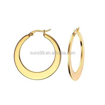 New Design Ring Type Earrings Gold Plated Stainless Steel Polished Round Hoop For Women