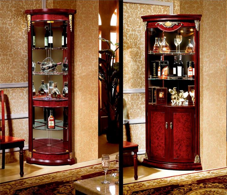 Free Standing Modern Design Showcase Corner Wooden Frame Glass ...