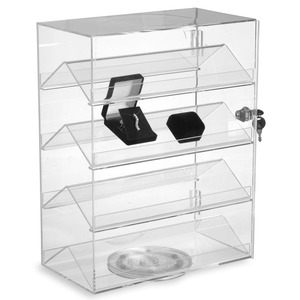 4 Tier Rotating Acrylic Jewelry Showcase Display Box with Lock, Acrylic Watch Jewelry Display Case Stand