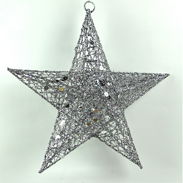 Iron wire Xmas star With Silver Glitter powder for indoor decoration
