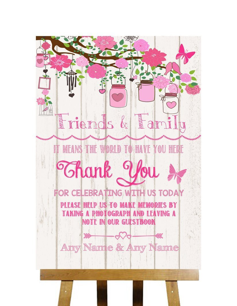Pink Rustic Wood Effect Thank You Guestbook Personalized Wedding Sign
