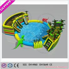 Outdoor popular jungle theme inflatable water park, dinosaur inflatable water park with pool and slides