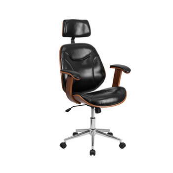 High Back Black Leather Executive Wood Swivel Chair With Arms For Office Furniture Base