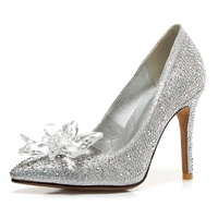 High quality low heel women latest crystal bridal wedding shoes