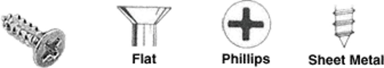 "C.R. LAURENCE AV1712 CRL Bright Zinc Chromate 8 x 3/4"" No.6 Flat Head Phillips Tapping Sheet Metal Screws"