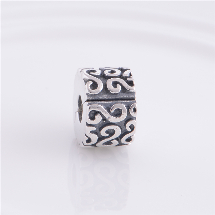 925 Sterling Silver Lock Clip Stopper Charm Beads with S Symbol, DIY Jewelry Fit Thread Troll Charm Bracelets C0302
