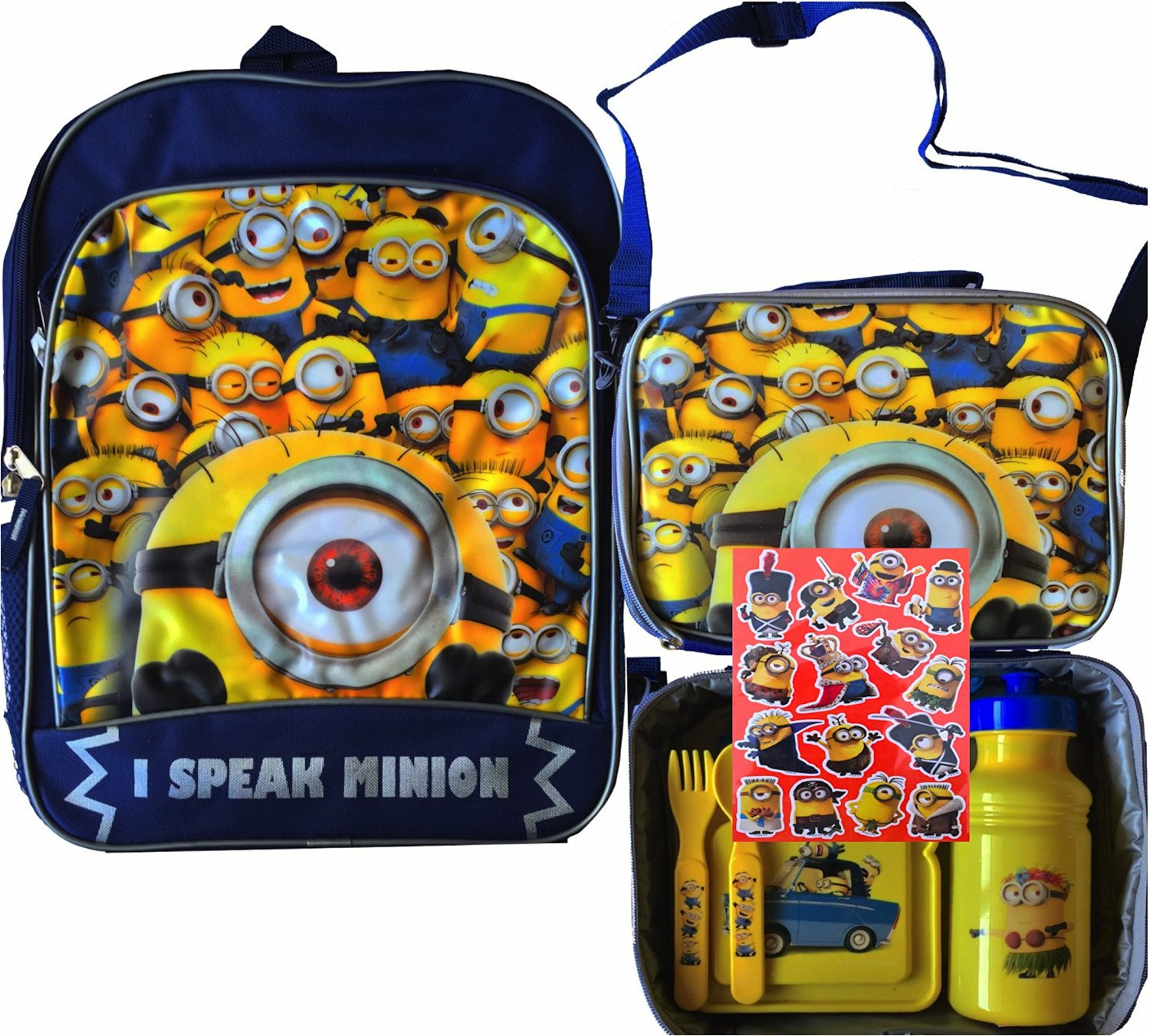 fd113d449959 Get Quotations · Despicable Me Minions School Backpack with Despicable Me  Minions Strap Lunch Box Perfect to Carry on