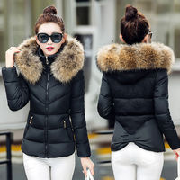 alson New Winter Women Thicken Cotton Fur Collar Hooded Coat Down Short Parka Jacket