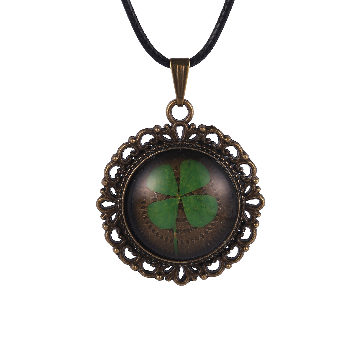 FM FM42 Vintage Style Real Irish Lucky Four Leaf Clover Round Pendant Necklace FN4082