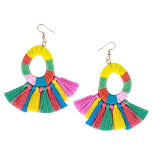 Hot Sale Multicolor Threads Wrapped Hoop Tassel Earrings Handmade Bohemian Jewelry Earrings