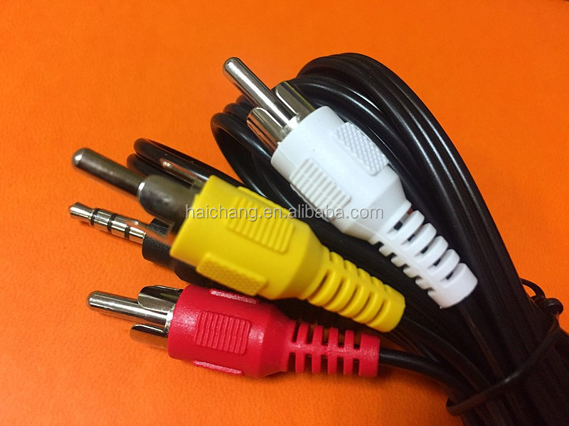 Audio adapter rca cable 4 pin 3 rca 3.5mm av rca cable