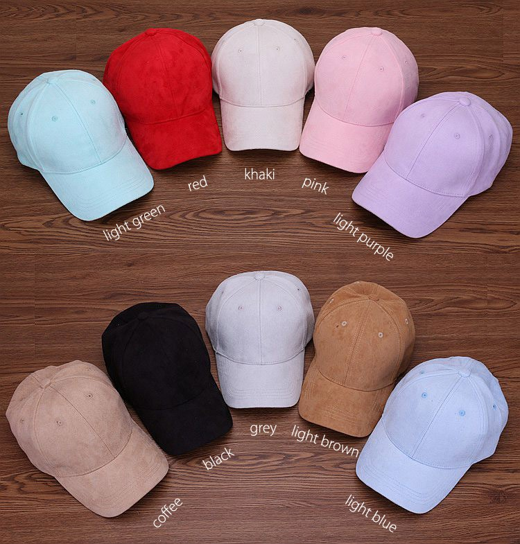 cd849333 Wholesale- Plain Suede baseball caps with no embroidered casual dad hat  strap back outdoor blank sport cap and hat for men and women