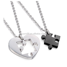 Stainless Steel Necklace For Men Women Chain Set For Couples Puzzle Pendant Necklace Couple Necklace