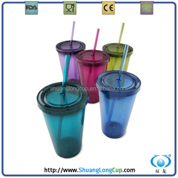 Wholesale 99 Cent Store Items Double Wall Plastic 16 Oz Tumblers With Straws