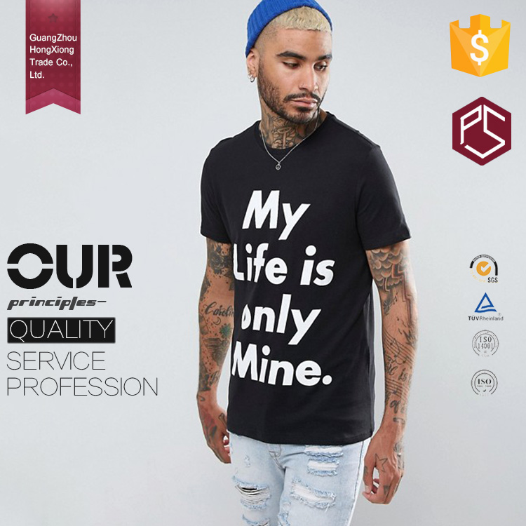GuangZhou Factory Latest Style 180 Grams Short Sleeve Cotton Round Neck Black Color Letter Printed Men T Shirt India